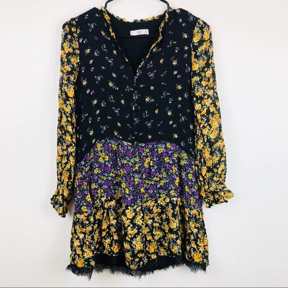 f2407cb087 Mango Dresses | Mng Patchwork Floral Lace Trim Dress | Poshmark